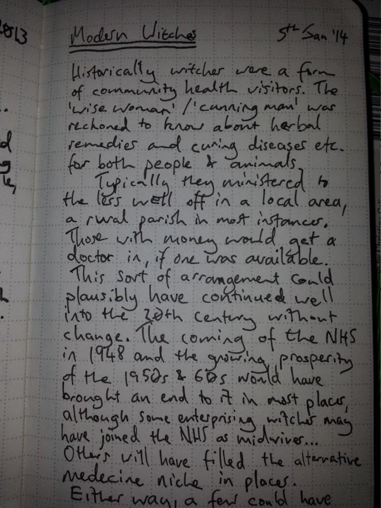 Handwritten notebook entry