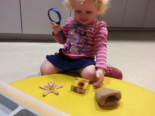 Toddler doing science in the Investigate Centr...