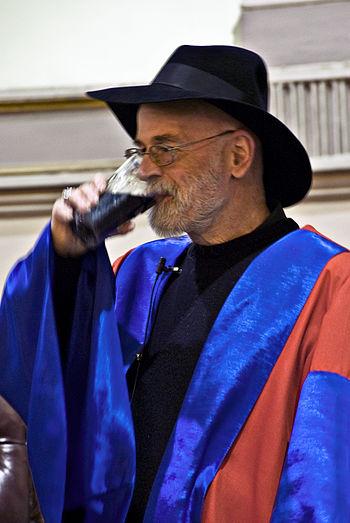 Terry Pratchett enjoying a Guinness at honorar...