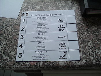 English: A ballot paper used in the 2005 UK Ge...