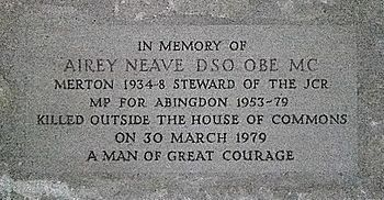 English: Memorial to Airey Neave at Merton College