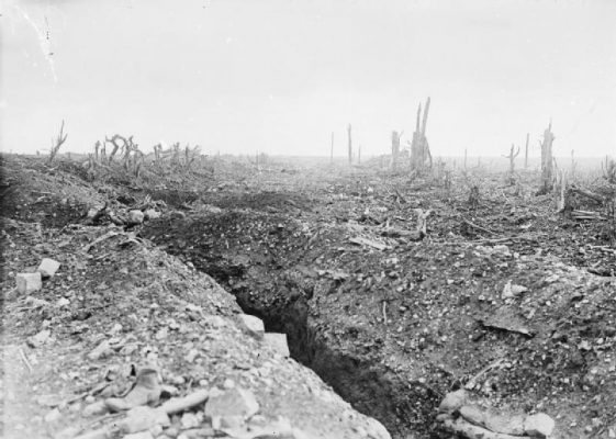 The Badly Shelled Road to Bapaume (20 Sept 1916) By Lt Ernest Brooks, via Wikimedia Commons