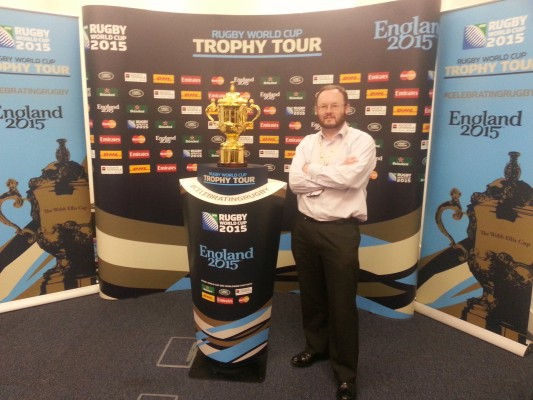 Me helping to promote the Rugby World Cup as part of tending leaders at work!