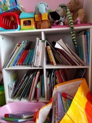 Lucy's bookshelf in her bedroom